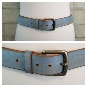 Campus Crew S Light Blue Genuine Leather Belt